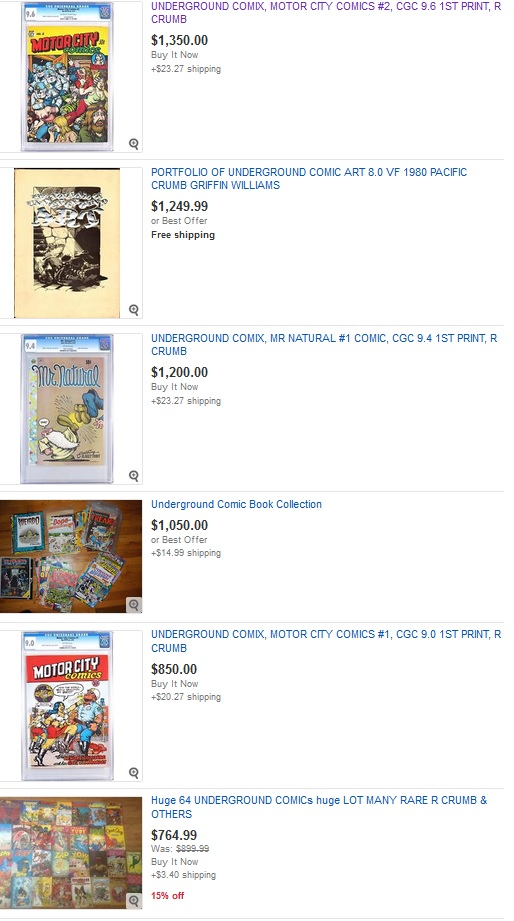 Auction snapshot of underground comic values